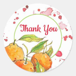 Sticker Rond Merci de fruit d'aquarelle de clémentines
