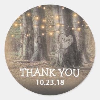 Sticker Rond Merci de lumières d'arbre rustique et de ficelle
