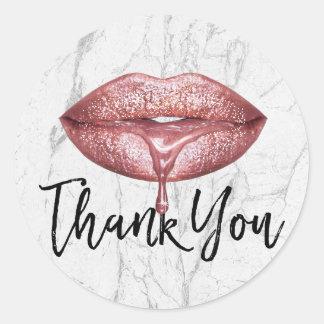 Sticker Rond Merci de marbre blanc d'or de lèvres roses