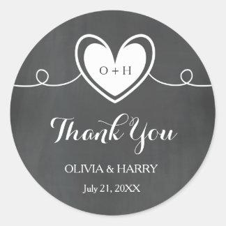 Sticker Rond Merci de mariage de coeur de monogramme de tableau