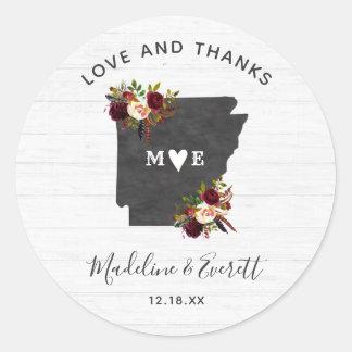 Sticker Rond Merci de mariage de destination d'état de
