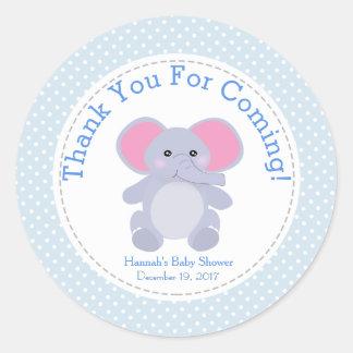 Sticker Rond Merci de partie de baby shower d'éléphant de bleus
