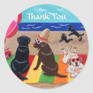 Sticker Rond Merci de peinture de Labradors de brise d'été