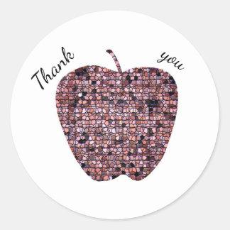 Sticker Rond Merci de professeur d'Apple en verre souillé de
