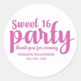 Sticker Rond Merci de rose et blanc du bonbon 16 personnalisé