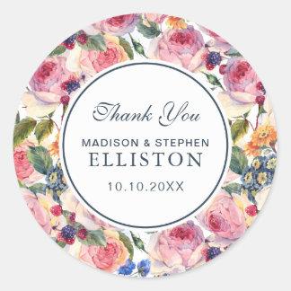 Sticker Rond Merci des roses | de l'anglais de l'aquarelle |
