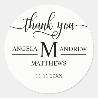 Sticker Rond Merci élégant mariage noir et blanc de | de