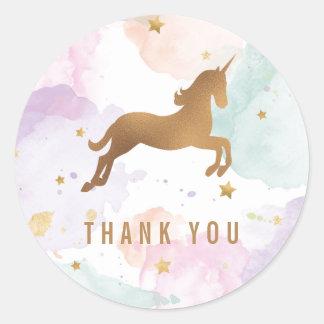 Sticker Rond Merci en pastel de fête d'anniversaire de licorne
