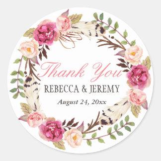 Sticker Rond Merci floral de guirlande de Boho épousant la