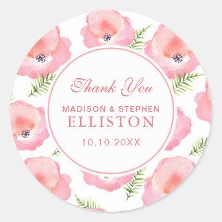 Sticker Rond Merci floral de l'aquarelle   de rose de rose de