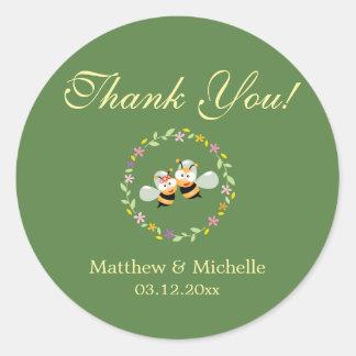 Sticker Rond Merci floral de mariage de guirlande de région
