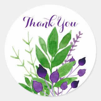 Sticker Rond Merci floral de mariage de jardin de cottage