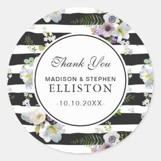 Sticker Rond Merci floral peint du motif rayé |