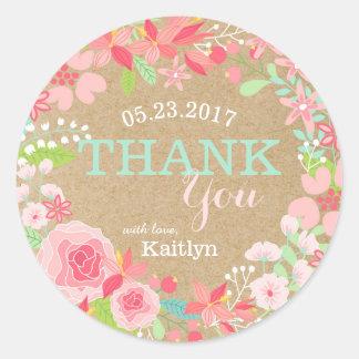 Sticker Rond Merci floral rose lunatique de papier d'emballage