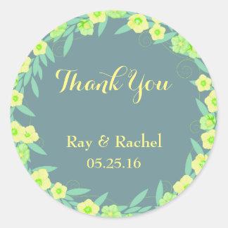 Sticker Rond Merci floral vert et bleu
