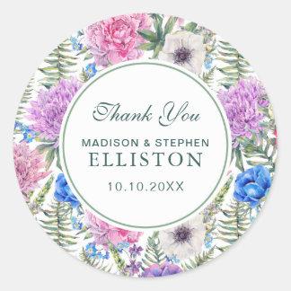 Sticker Rond Merci floral vintage de la pivoine | de