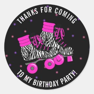 Sticker Rond Merci Girly d'anniversaire de patin de rouleau