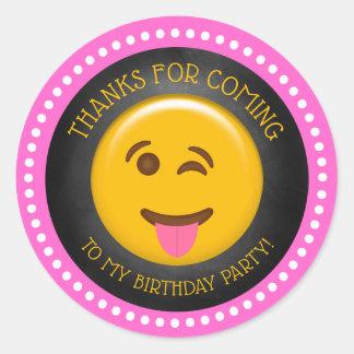 Sticker Rond Merci Girly mignon d'anniversaire d'Emoji