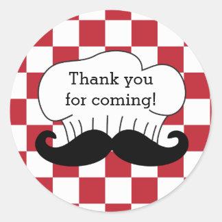 Sticker Rond Merci italien de partie de pizza de moustache du