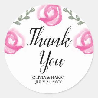 Sticker Rond Merci l'épousant élégant de faveur des roses |