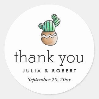 Sticker Rond Merci minimal rustique de mariage de cactus