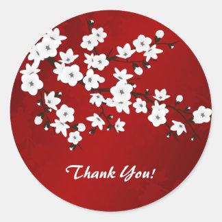 Sticker Rond Merci noir et blanc rouge de fleurs de cerisier