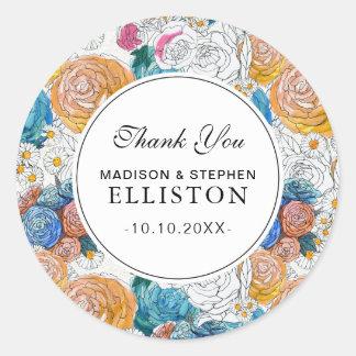 Sticker Rond Merci peint à la main bleu et orange des fleurs |