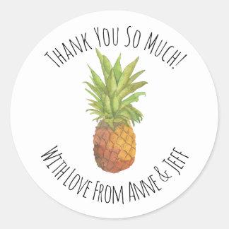 Sticker Rond Merci personnalisé par ananas tropical