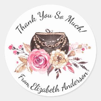 Sticker Rond Merci personnalisé par bourse florale rose