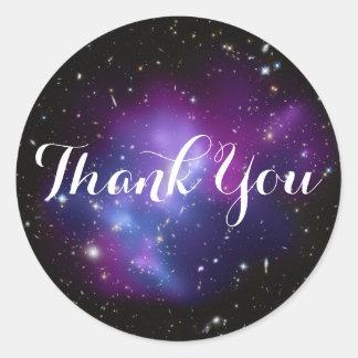 Sticker Rond Merci pourpre de groupe de galaxie