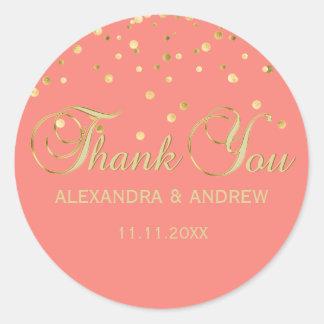 Sticker Rond Merci rose DE CORAIL élégant de mariage d'or