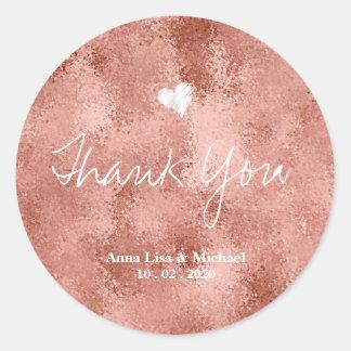 Sticker Rond Merci rose de mariage d'or de Faux métallique