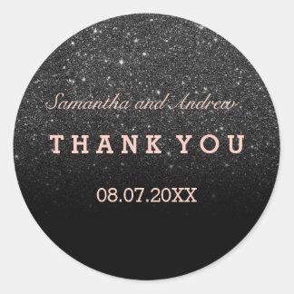 Sticker Rond Merci rose d'or d'ombre noir de parties
