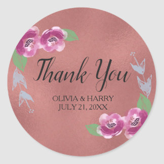 Sticker Rond Merci rose floral de faveur de mariage d'or