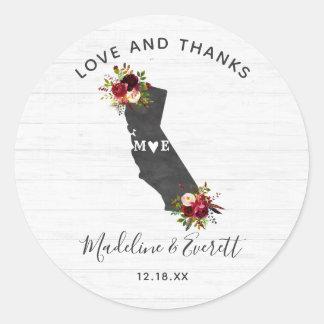 Sticker Rond Merci rustique floral de mariage d'état de la
