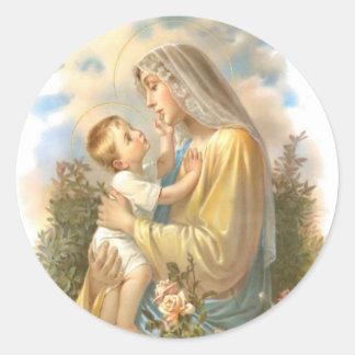 Sticker Rond Mère bénie traditionnelle Mary avec le bébé Jésus