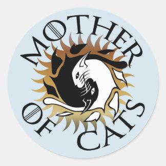 Sticker Rond Mère d'autocollant rond de chats