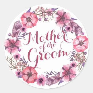 Sticker Rond Mère de l'autocollant floral de mariage de rose de