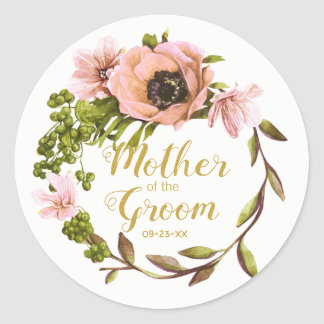 Sticker Rond Mère rose de guirlande de pivoine du marié ID456