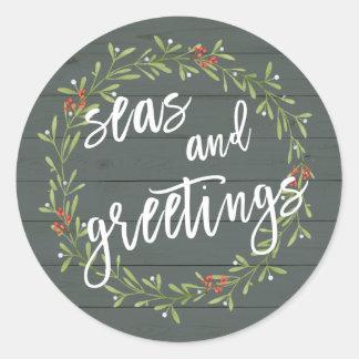 Sticker Rond Mers et Noël nautique de salutations