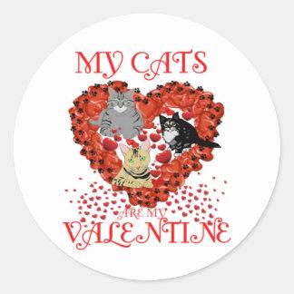 Sticker Rond Mes chats sont mon Valentine ! Maintenant et pour