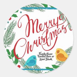 Sticker Rond Message de bip de birdie de famille de Joyeux Noël