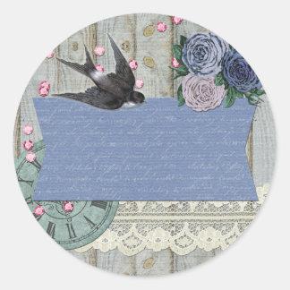 Sticker Rond Métier chic minable vintage de bleu de cobalt