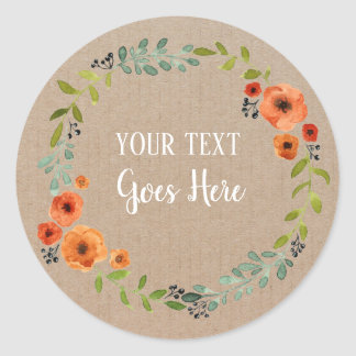 Sticker Rond Métier floral vintage de guirlande de produit fait