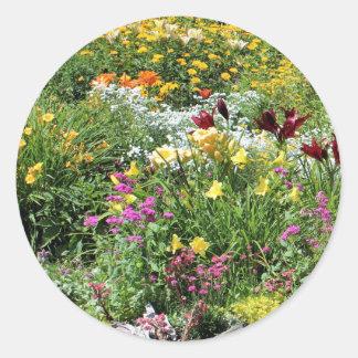 Sticker Rond Mi jardins colorés d'été !