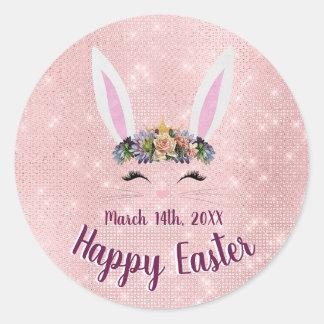 Sticker Rond Mignon rougissent le lapin heureux rose de Pâques