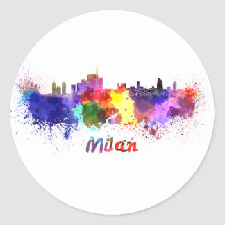 Sticker Rond Milan skyline in watercolor