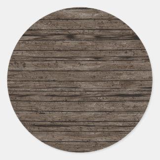 Sticker Rond Milieux en bois patinés. Motif en bois de textures
