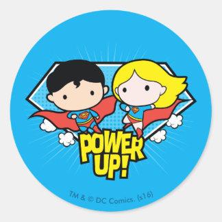 Sticker Rond Mise sous tension de Chibi Superman et de Chibi