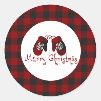 Sticker Rond Mitaines de Joyeux Noël